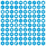100 interaction icons set blue. 100 interaction icons set in blue hexagon isolated vector illustration royalty free illustration