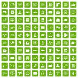 100 interaction icons set grunge green. 100 interaction icons set in grunge style green color isolated on white background vector illustration Royalty Free Stock Photo
