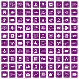 100 interaction icons set grunge purple. 100 interaction icons set in grunge style purple color isolated on white background vector illustration Royalty Free Illustration