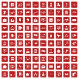 100 interaction icons set grunge red Royalty Free Stock Photos