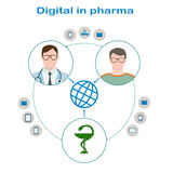 Interaction of the patient with glasses and a sweater, a doctor in glasses with phonendoscope and pharmaceutical companies. Through Digital. Icons mail Stock Photography