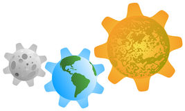Interaction of the planets in the form of gears royalty free stock photography