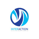 Interaction - vector logo template concept illustration. Cooperation creative sign in blue colors. Abstract geometric symbol. Stock Photography