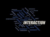 Interaction - word cloud wordcloud - terms from the globalization, economy and policy environment. Wordcloud with series of terms from the globalization, economy Royalty Free Stock Photo