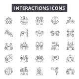 Interactions line icons for web and mobile design. Editable stroke signs. Interactions  outline concept illustrations. Interactions line icons for web and mobile vector illustration