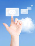 Interactive communication. With flying emails Royalty Free Stock Images