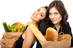 Interactive couple groceries Royalty Free Stock Photography