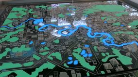 Interactive 3D city model of Moscow. With dynamic illumination. Technology and urbanization concept stock video
