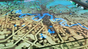 Interactive 3D city model of Moscow. With dynamic illumination. Technology and urbanization concept stock video footage