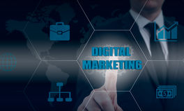 Interactive digital marketing channels illustration Royalty Free Stock Photo