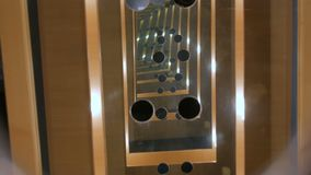 Endless mirror tunnel. Interactive exposition in science museum. Endless mirror tunnel - optical illusion stock video
