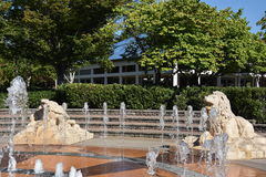 Interactive fountain at Coolidge Park in Chattanooga, Tennessee Royalty Free Stock Images