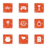 Interactive game icons set, grunge style. Interactive game icons set. Grunge set of 9 interactive game vector icons for web isolated on white background Stock Images