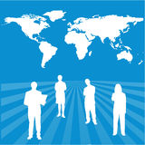 Interactive global success team with world map bac. An illustration of interactive global success team with world map background Royalty Free Stock Photos