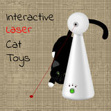 Interactive laser toy for cats and a black cat in the background. Vector Royalty Free Stock Photos