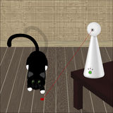 Interactive laser toy for cats and black cat on the floor. Vector illustration Royalty Free Stock Image