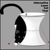 Interactive laser toy for cats and a cat playing with a laser. Vector illustration Royalty Free Stock Photo