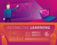 Interactive learning banner set, cartoon style royalty free illustration