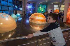 Interactive mock of  solar system in the museum Urania planetarium in Moscow, Russia Stock Images