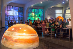 Interactive mock of  solar system in the museum Urania planetarium in Moscow, Russia Stock Photos