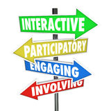 Interactive Participatory Engaging Involving Arrow Road Signs royalty free illustration