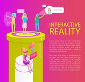 Interactive Reality Items Set Vector Illustration. Interactive reality artificial items creating hologram. People wearing vr goggles spectacles, laptops phone royalty free illustration