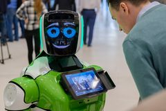 Interactive Robot meet visitors at Skolkovo Robotics Forum Stock Photo