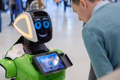 Interactive Robot meet visitors at Skolkovo Robotics Forum Royalty Free Stock Images