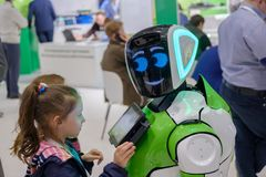 Interactive Robot meet visitors at Skolkovo Robotics Forum Royalty Free Stock Photos