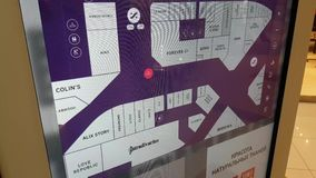 Interactive shopping mall map sign for visitors. stock video