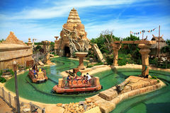 Interactive water attraction Angkor in the theme park Port Aventura  in city Salou, Catalonia, Spain. Royalty Free Stock Image