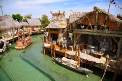 Interactive water attraction Angkor in the theme park Port Aventura  in city Salou, Catalonia, Spain. Stock Images