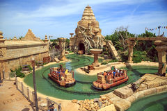 Interactive water attraction Angkor in the theme park Port Aventura  in city Salou, Catalonia, Spain. Stock Image