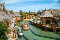 Interactive water attraction Angkor. Theme park Port Aventura in city Salou, Spain. stock images