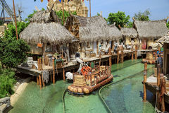 Interactive water attraction Angkor. Theme park Port Aventura in city Salou, Spain. Royalty Free Stock Image