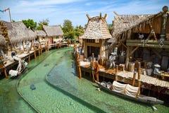 Interactive water attraction Angkor. Theme park Port Aventura in city Salou, Spain. Stock Photos