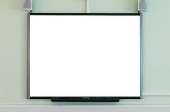 Interactive whiteboard. An interactive whiteboard blank to add your own image or text Stock Images
