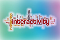 Interactivity word cloud with abstract background Stock Image