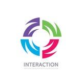 Interaktion - Vektorlogoschablonen-Konzeptillustration Kreatives Zeichen Alliances Abstraktes Formsymbol Vier Farbgestaltungselem lizenzfreie abbildung
