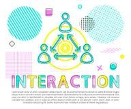 Interaktion zwischen Leute-Zusammenfassungs-Vektor-Fahne vektor abbildung