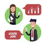Interaktion zwischen zwei Angestellten von Geschäftsmännern oder von Managern Der Chef preist den Untergebenen Arbeitsbedingungen lizenzfreie abbildung