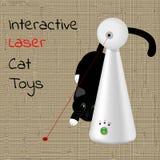 Interaktywna laser zabawka dla kotów i czarnego kota w tle Zdjęcia Royalty Free