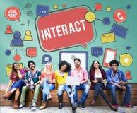 Interattivo comunichi collegano la rete sociale sociale di media concentrata fotografia stock