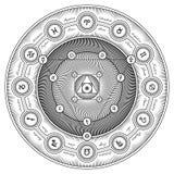 Interazione Alchemical Sheme - designazione di simboli dell'illustrazione di vettore Fotografie Stock Libere da Diritti