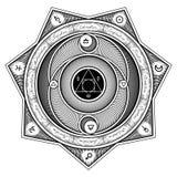 Interazione Alchemical Sheme - designazione di simboli dell'illustrazione di vettore Immagini Stock