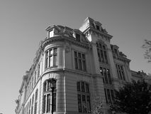 Interbellic building black white. Black and white photography corner city building Stock Image