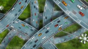 Intercâmbio minúsculo da autoestrada dos desenhos animados com tráfego video estoque