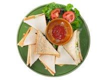 Intercale el pan y la salsa de tomate, visión superior aislados en el fondo blanco Fotografía de archivo libre de regalías