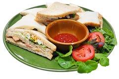 Intercale el pan y la salsa de tomate, vista lateral aislados en el fondo blanco Imagen de archivo