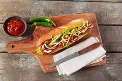 Intercale la salsa y las hierbas de tomate del salami de queso del baguette imagenes de archivo